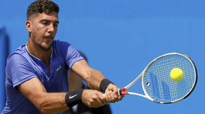MENTORING: Thanasi Kokkinakis is getting help from Mark Philippoussis in preparation for his Wimbledon campaign.