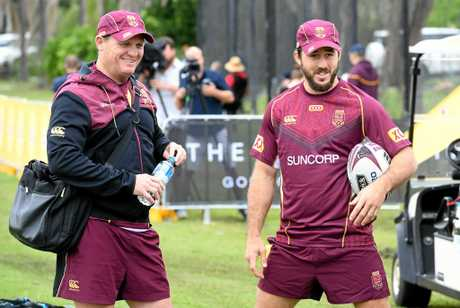 Coach Kevin Walters and Ben Hunt look on during the Queensland State of Origin team training session on the Gold Coast Friday