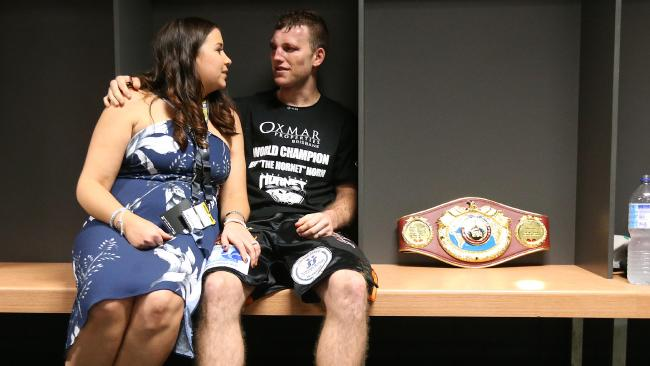 Jeff Horn sits with wife Jo and has a quiet moment after the fight. Picture Peter Wallis