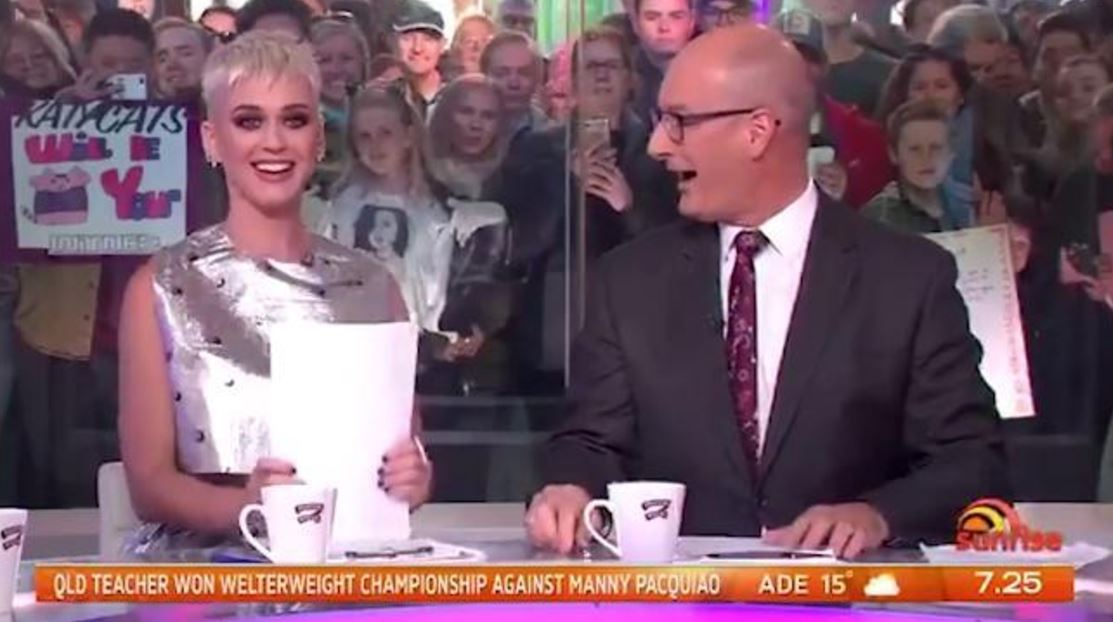 Katy Perry nails reading the autocue on Sunrise