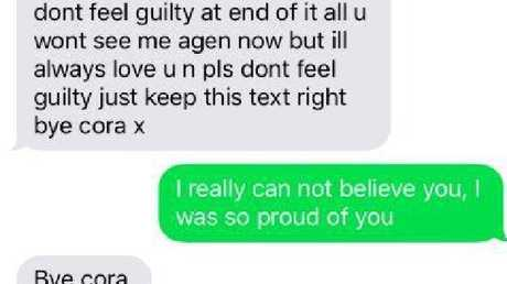 Colin sent Cora manipulative text messages after she turned him in.