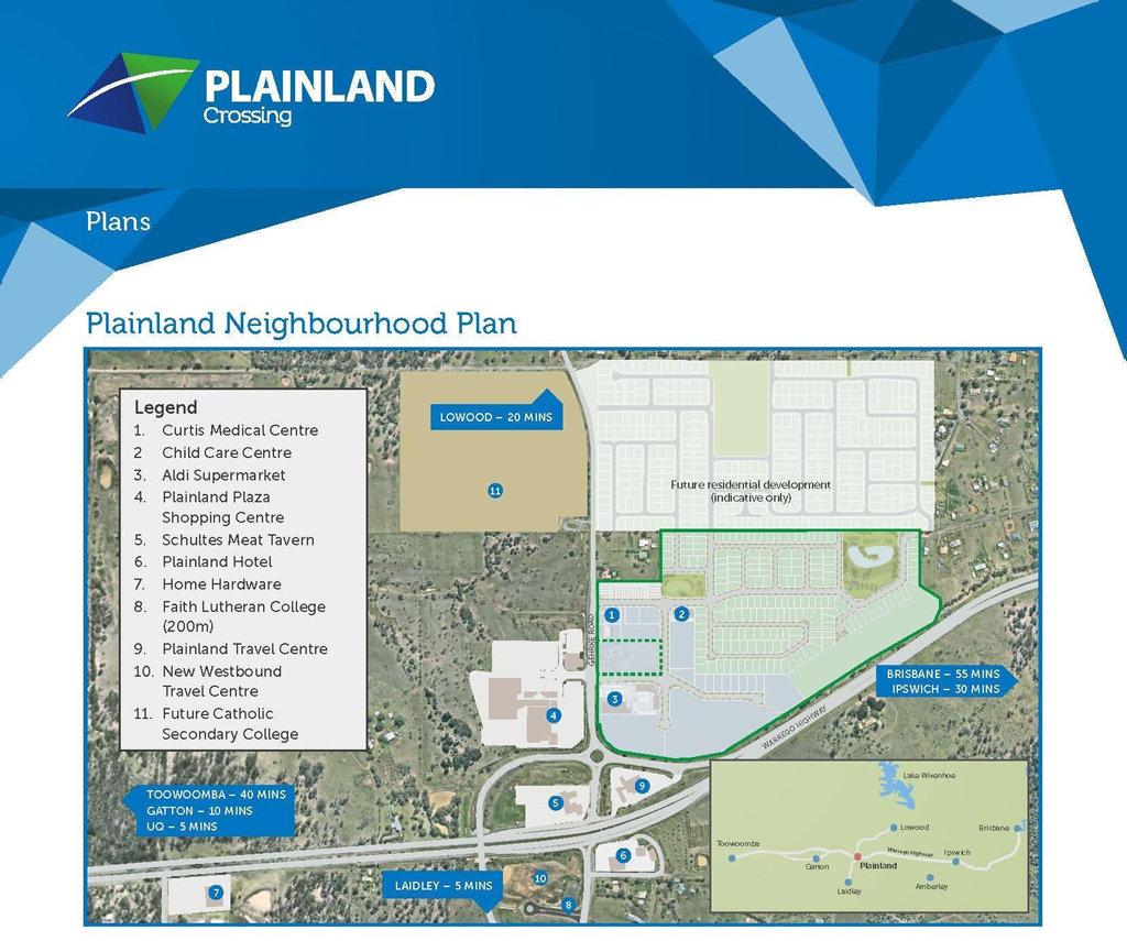 The current Plainland Neighbourhood Plan for Plainland Crossing.