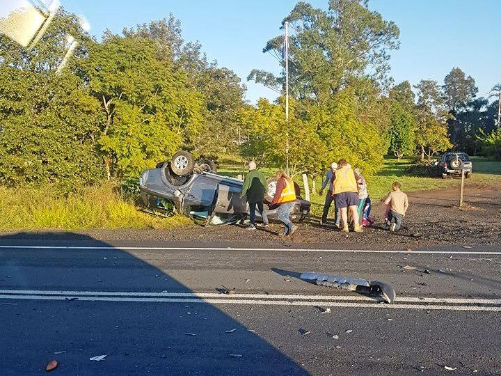Three people are being treated on scene following a crash on the Pacific Highway at Woodburn this morning.
