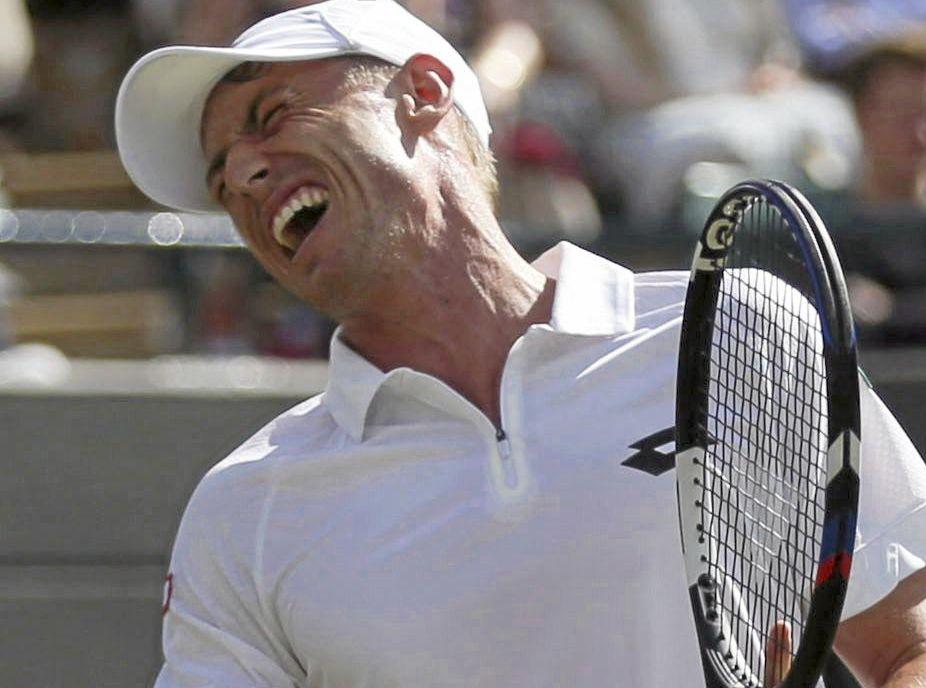 Australia's John Millman during his men's singles match against Spain's Rafael Nadal at Wimbledon.