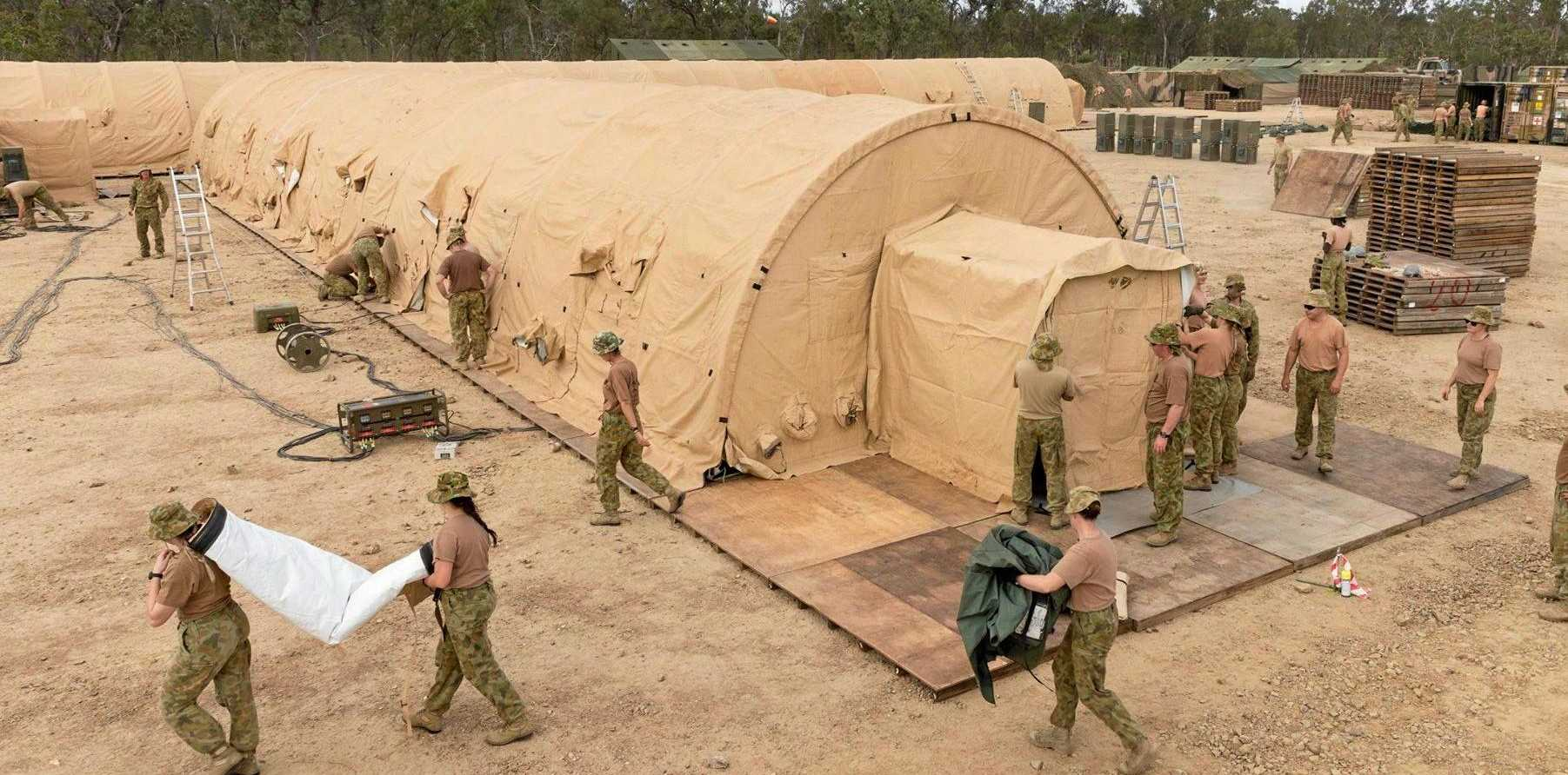 Members of Australian Army's 2nd General Health Battalion have begun construction of a Role 2E (Enhanced) field hospital in the vicinity of Williamson Airfield, Shoalwater Bay as part of Talisman Saber 2017 (TS 17).