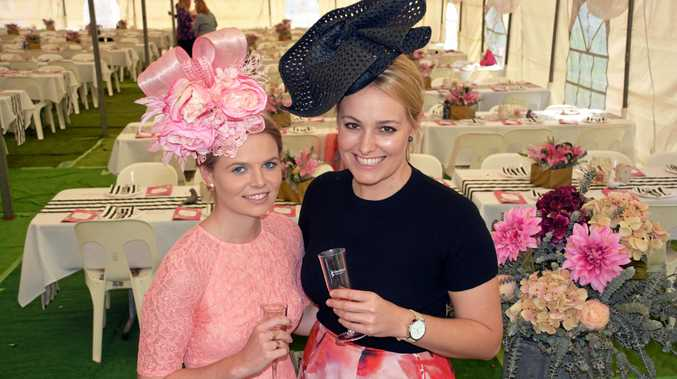 PRETTY IN PINK: Dirranbandi girls Chloe Brown and Andrea Crothers at Weengallon Pink Ladies Day last year.