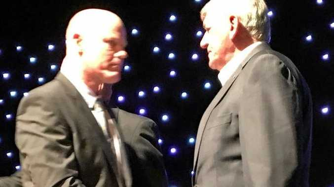 SPECIAL GUEST: Tony Coonan with John McDonald at the Sports Darling Downs awards night in February.