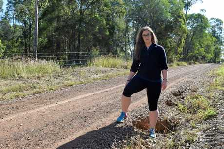 Ashleigh Rimmington with one foot in a divet on Turner Rd.