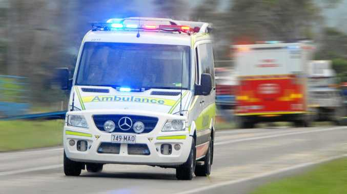 Ambulance with lights on  Photo Tony Martin / Daily Mercury