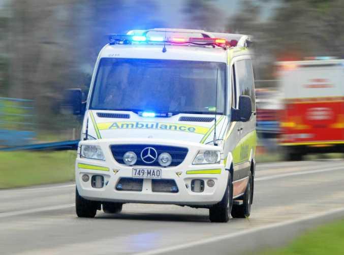 Ambulance with lights on  Photo Tony Martin / Daily Mercury
