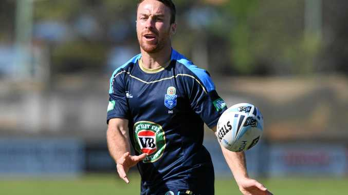 James Maloney during a New South Wales State of Origin team training session.
