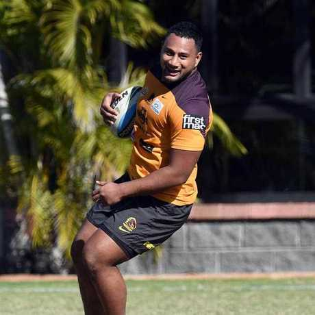 Broncos player Francis Molo during training in Brisbane, Tuesday, July 28, 2015.