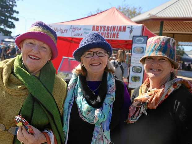 ALL WELCOME: Visitors come from across the state to enjoy the festival, including Helen Heathwood (Bundaberg), Sue Brownjohn (Caloundra) and Carol Cherry (Beerwah).