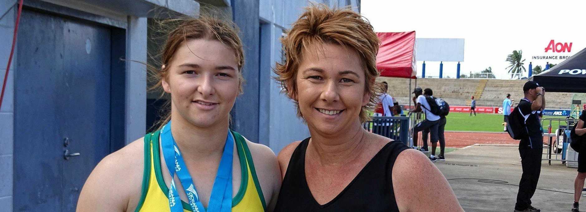 Oceania championships medal winner Rochelle Vidler and her mum Anne in Fiji.