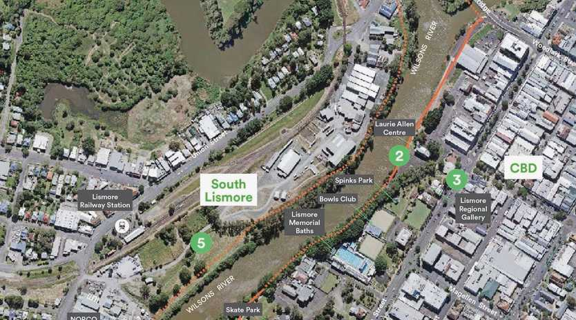 Lismore City Council's Wilson's River Bridge to Bridge Vision Report - aerial map of potential Loop and Cycling Circuit.