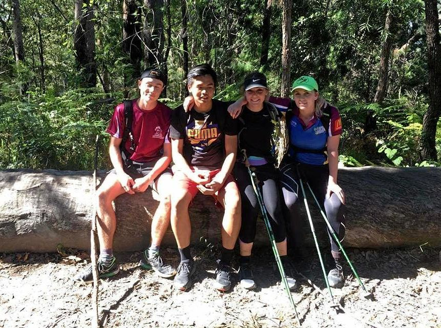 IN TRAINING: (from left) Will Ladd, Jerry Casuga, Jeanette Genis and Sarah Town will complete the 96km course of the Kokoda Challenge.