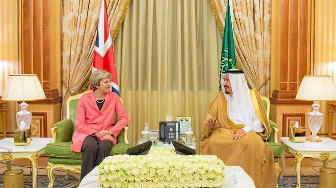 British Prime Minister Theresa May meets with Saudi Arabia's King Salman bin Abdulaziz al-Saud in the capital Riyadh on April 5.