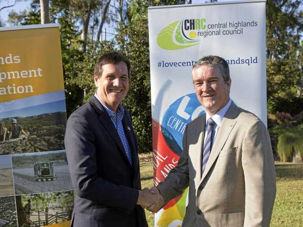 FUNDING BOOST: Minister Anthony Lynham (pictured with Mayor Kerry Hayes) announced a $6.35 million dollar boost for Central Highlands' infrastructure.