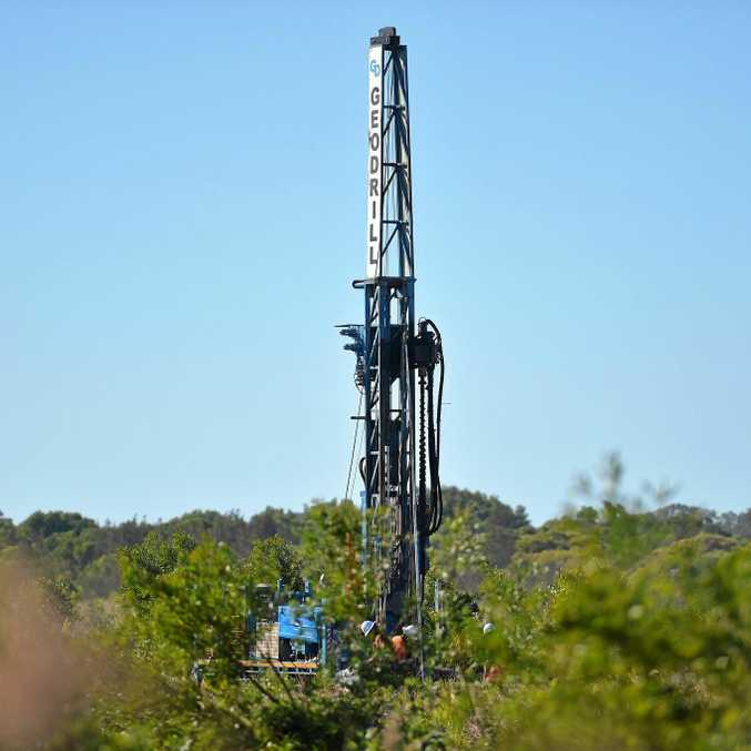 Drilling equipment goes into place ahead of a proposed Coolum West sand mine south of the Coolum roundabout.