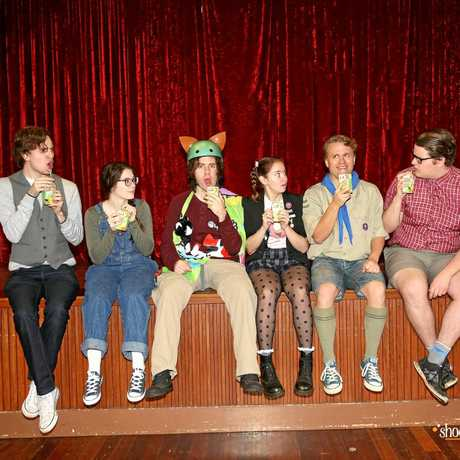 Performing in The 25th Annual Putnam Country Spelling Bee is (from left)  Ryan Paroz, Shannon Gralow, Justin Tamblyn, Alex Stewart, Mike Escober, Harrison Paroz and Kyle Dever.
