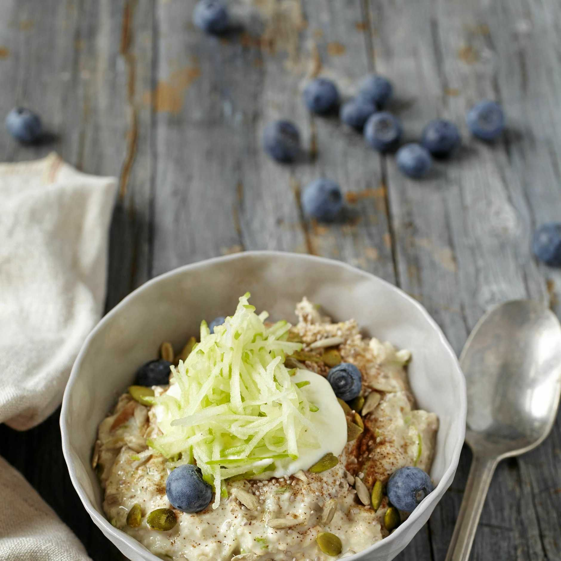 Bircher muesli with apple and blueberries.