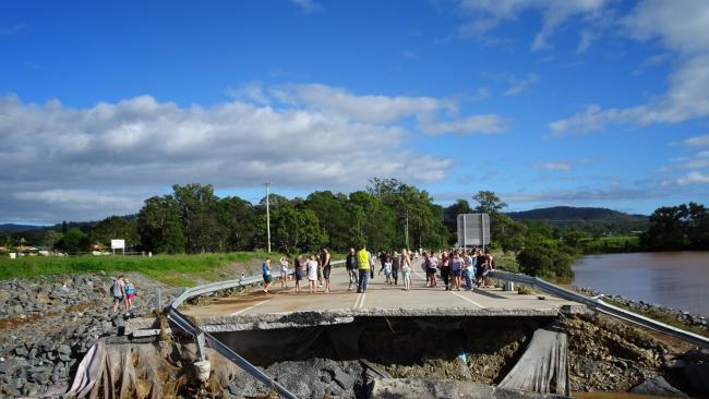 John Muntz Bridge destroyed by floodwaters. Photo: Genevieve Faulkner