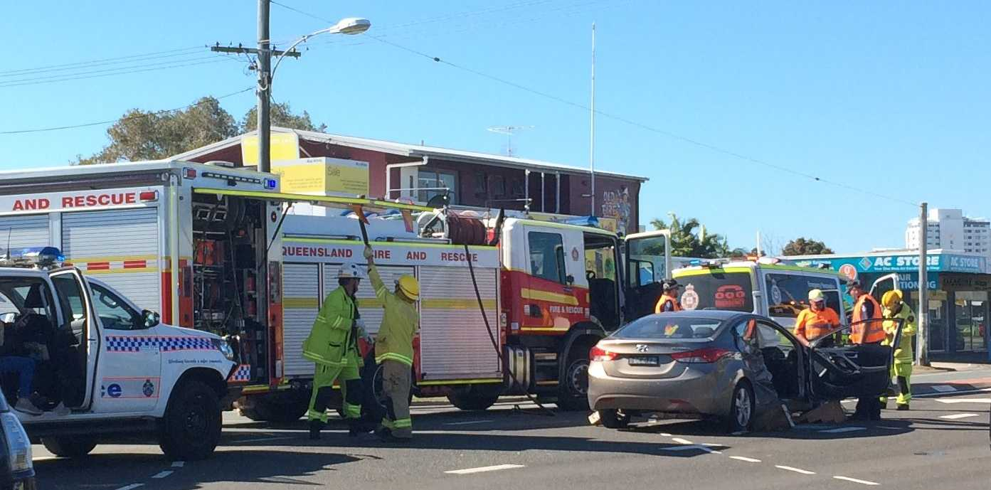 A man has been cut free after a crash in Maroochydore.
