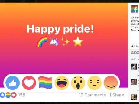 Facebook introduced a rainbow flag reaction for Pride month. Picture: Facebook.Source:Supplied