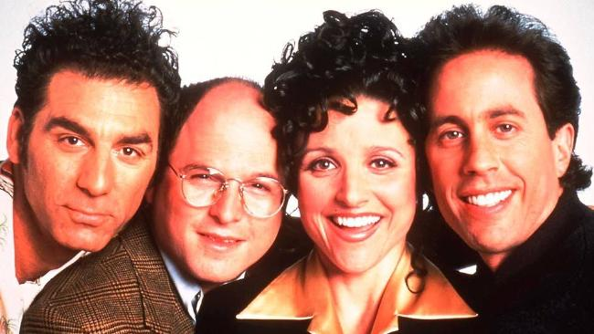 Cast of Seinfeld: Michael Richards (Kramer), Jason Alexander (George), Julia Louis-Dreyfus (Elaine) and Jerry Seinfeld.