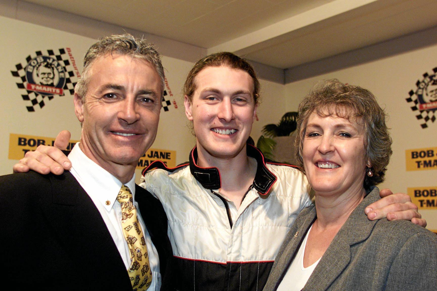 Peter Brock and Bev Brock with their son James Brock, after James won the Bathurst Tourers V8 300km race in 1999.