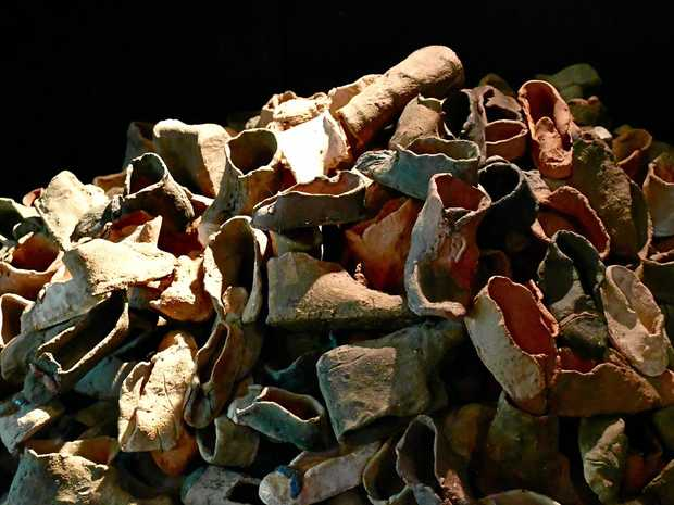 The sculpture of children's shoes at the Sydney Jewish Museum.