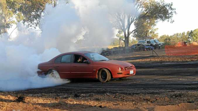 FUN TIMES: Barry Wicks in his XR8 at Monto last weekend.