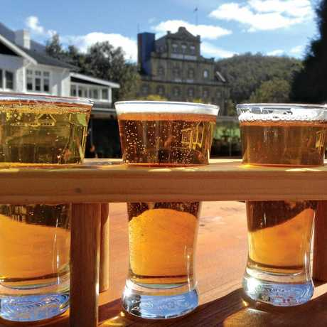 A beer tasting paddle on offer at the Cascade Brewery visitors' centre bar in Hobart, Tasmania.