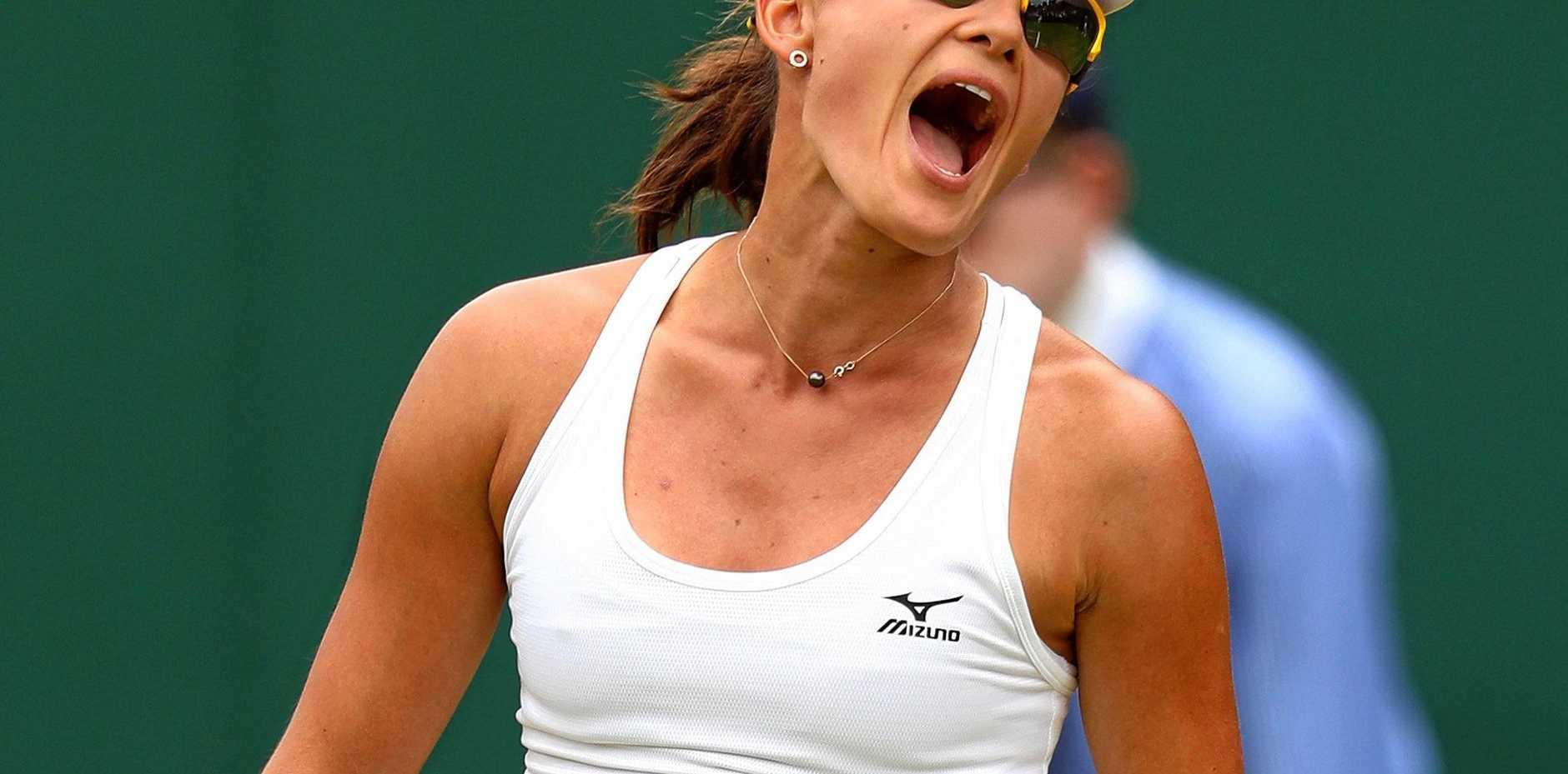 Arina Rodionova during her first round match against Anastasia Pavlyuchenkova at Wimbledon