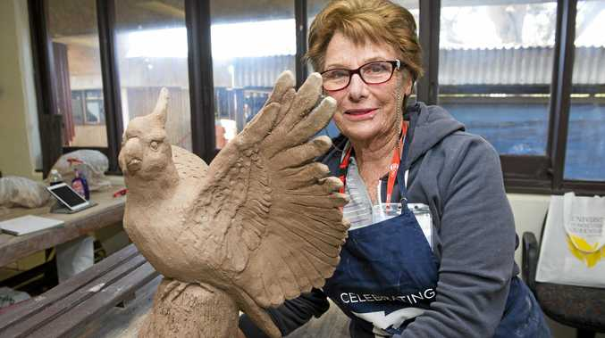 SUPER SCULPTING: Jacqui Rahley learnt the art of sculpture at this year's McGregor Winter School at the University of Southern Queensland.