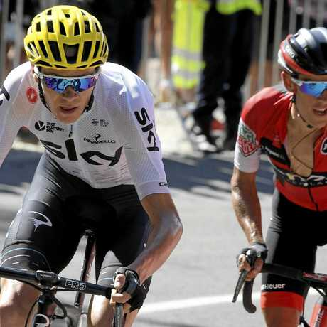 Froome (L) and BMC Racing Team rider Richie (R) Porte of Australia in action during the 5th stage