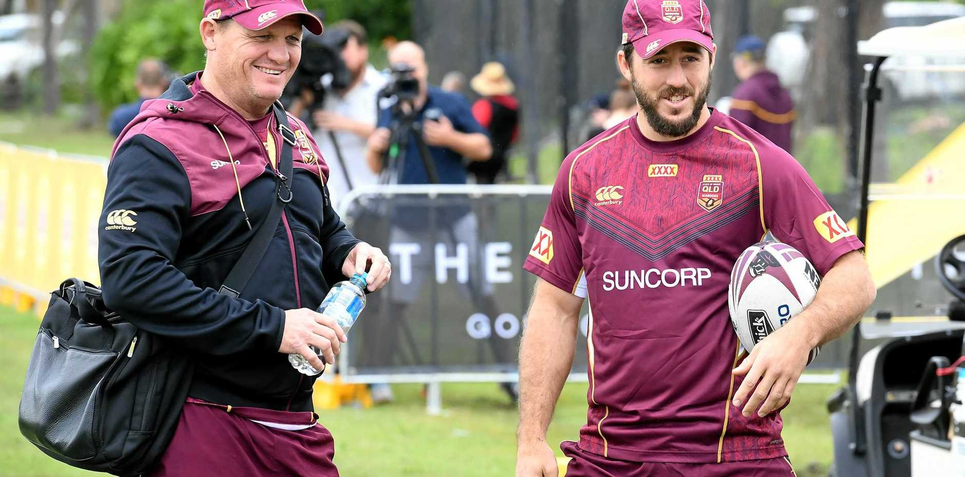 Coach Kevin Walters and Ben Hunt at Maroons training on the Gold Coast.