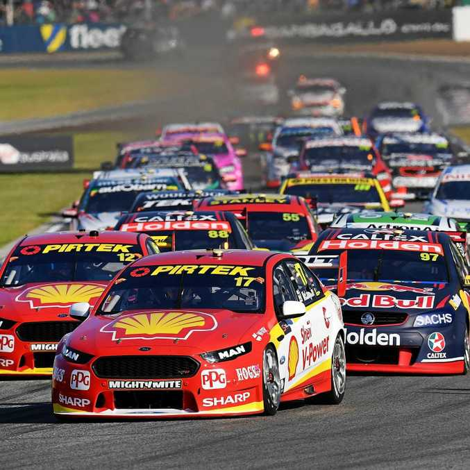ON PACE: DJR Team Penske drivers Scott McLaughlin (front) and reigning champion Fabian Coulthard (left) will be among the favourites to claim line honours at the Watpac Townsville 400 this weekend.