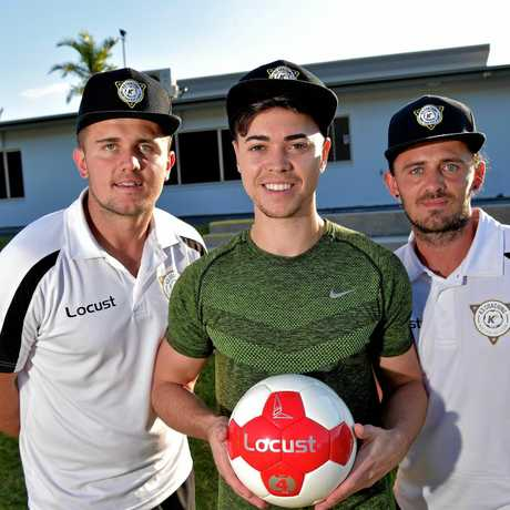 Caloundra player Reece Dalton (centre) is travelling to overseas to play in the Swedish Football League.Reece is pictured with Korey Nix and Kallum Nix from K3 Coaching.