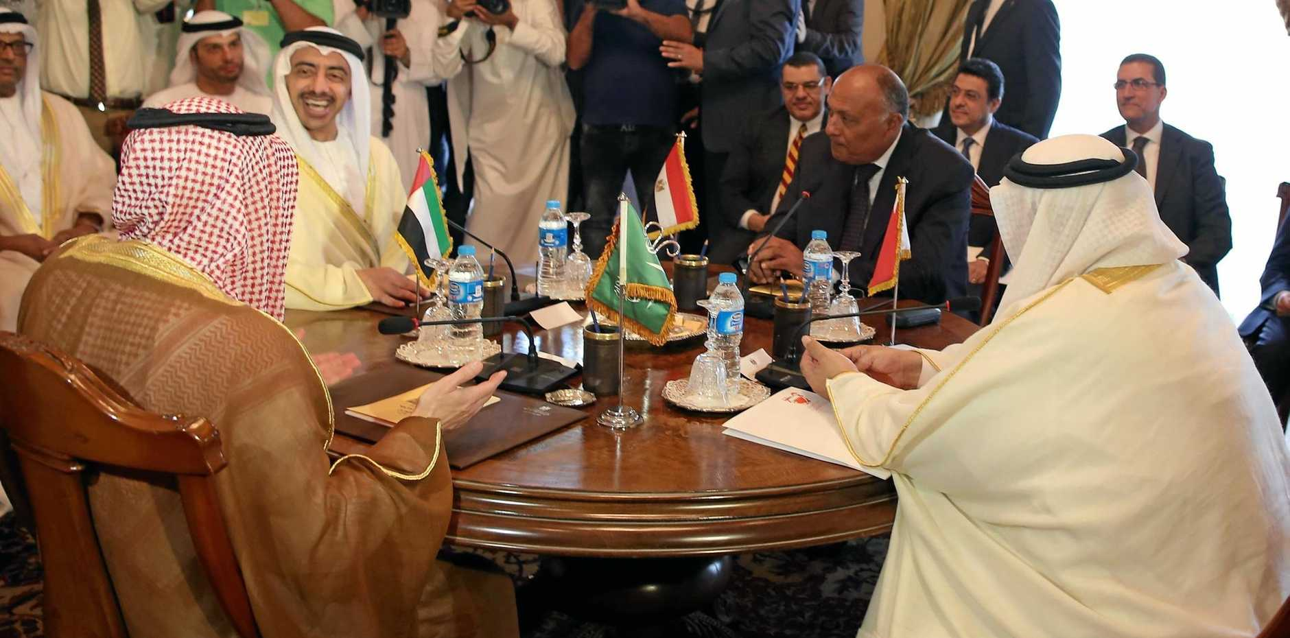 Foreign Ministers from Saudi Arabia, the UAE, Egypt and Bahrain meet in Cairo, Egypt, to discuss the diplomatic situation with Qatar.