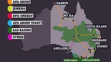 Gas pipelines on Australia's east coast.Source:news.com.au