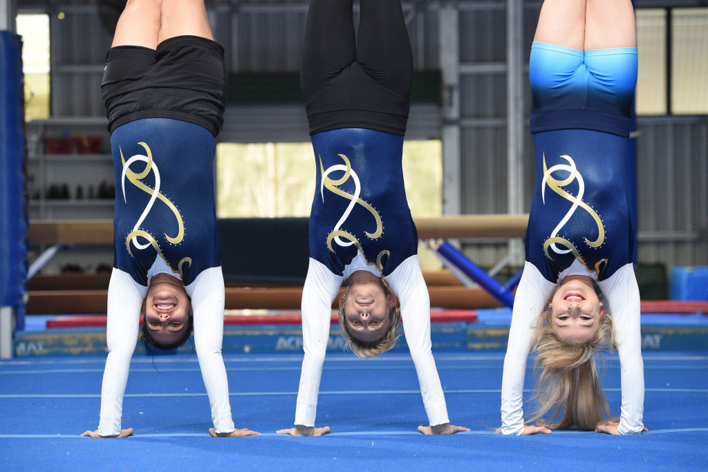 Masters gymnasts - (L) Jade Hodges,28, Helen Halford,41, and Amy Stephenson,26.