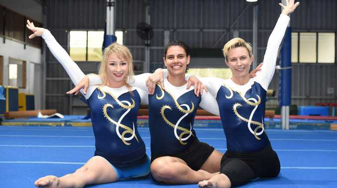 Masters gymnasts - (L) Amy Stephenson,26, Jade Hodges,28, and Helen Halford,41.