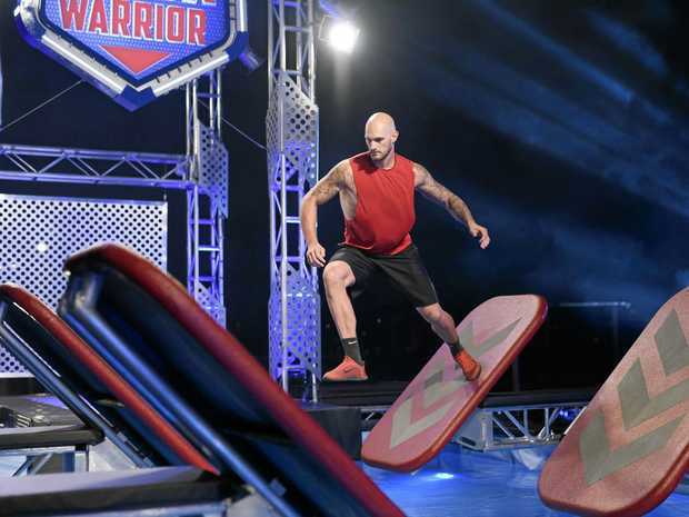 Rory Rhodes, formerly of Upper Caboolture, takes on the obstacle course on Australian Ninja Warrior. Supplied by Channel 9.