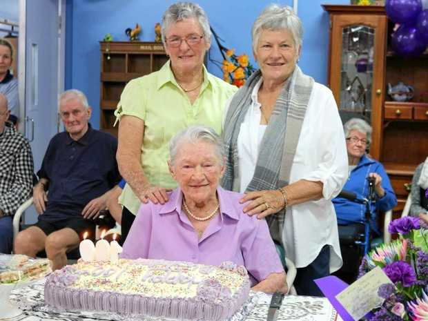 SIMPLE LIFE: Merle McCoist celebrated turning 100 with her daughters Margaret Leddington-Hill (left) and Dianne Reed.