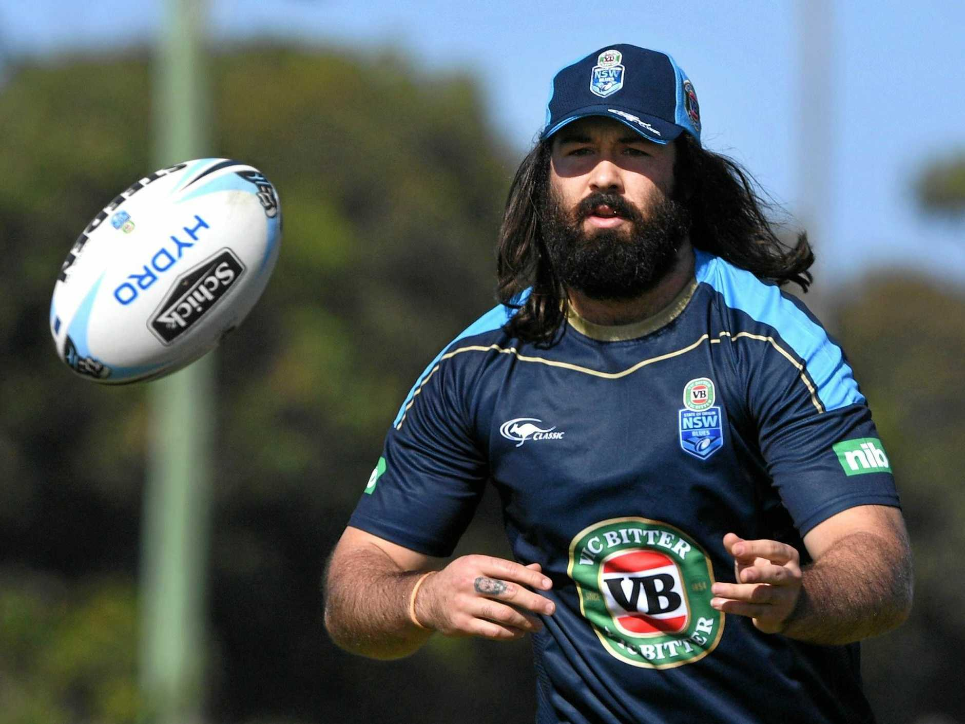 Aaron Woods during a New South Wales State of Origin team training session at Cudgen.