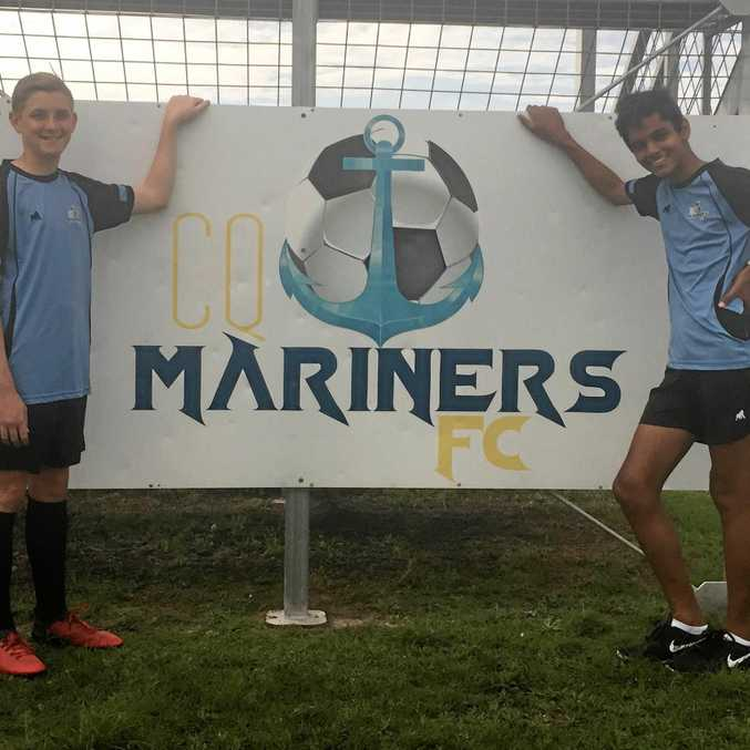 ON THE BALL: Baden Larkin and Fateh Brar joined four other CQ Mariners who took part in a three-day state training camp.