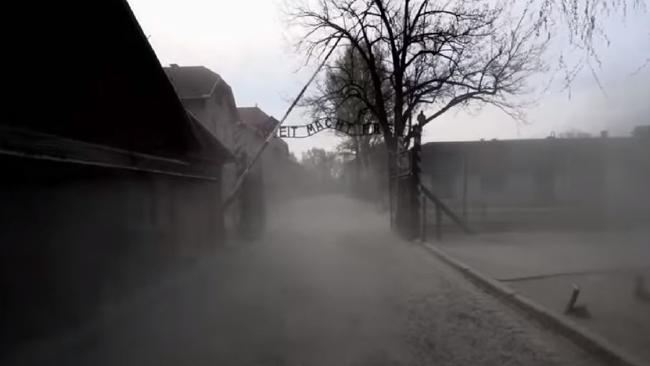 New aerial footage of Auschwitz concentration camp.