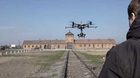 Drone footage of Auschwitz concentration camp has been released.