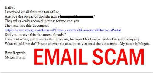 The ATO has warned of this email scam doing the rounds at the start of tax time.